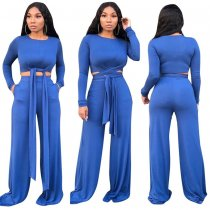 WGW Solid Long Sleeve Tie Up Wide Leg Pants 2 Piece Suits TR975