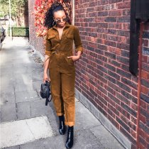 WGW Solid Color Corduroy Long Sleeve Sashes Jumpsuits SH3467