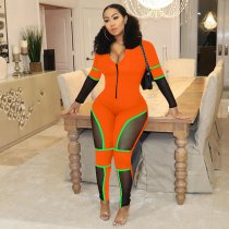WGW Sexy Mesh Patchwork Long Sleeve Zipper Skinny Jumpsuits YD8120