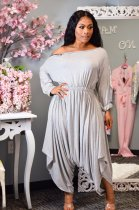WGW Solid Color Long Sleeve Loose One Piece Jumpsuits LSL6317