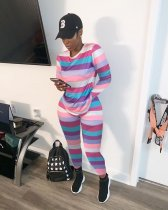 WGW Colorful Stripe Long Sleeve Two Piece Outfits ARM8131-1