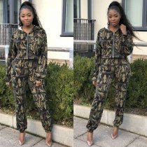 WGW Casual Printed Hooded Zipper Full Sleeve 2 Pieces Suit LM8084