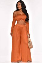 WGW Solid Off Shoulder Long Sleeve Wide Leg Pants Suits LUO3018