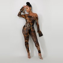 WGW Sexy Mesh See Through Off Shoulder Print Jumpsuits YD8124
