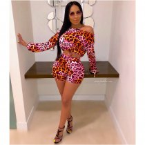 WGW Leopard Print Long Sleeve Lace Up 2 Piece Shorts Set ME341