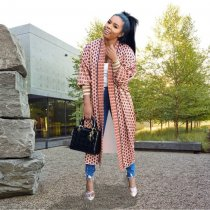 WGW Trendy Plaid Printed Full Sleeve Long Cardigan Coats ME319-1