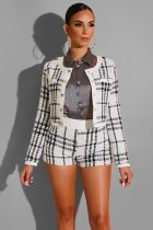WGW Plaid Short Jacket And Shorts Autumn Winter 2 Piece Sets ZS0233