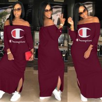 WGW Casual Slash Neck Long Sleeve Maxi Dresses LSD8217