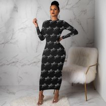 WGW Letter Print Long Sleeve O Neck Long Maxi Dresses FSL056