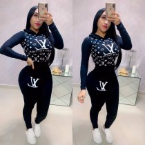WGW Casual Sporty Hooded Long Sleeve Two Piece Suits WZ8223