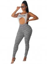 WGW Sexy Straps Hollow Out Letters Printed Jumpsuits OMY5168