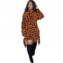 WGW Leoaprd Print Long Sleeve O Neck Mini Dresses GS1158