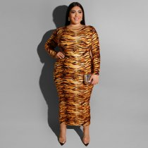 Plus Size 4XL Leopard Print Long Sleeve Maxi Dresses ME5066