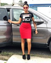 WGW Letter Print T Shirt And Skirt Two Piece Suits FST7009