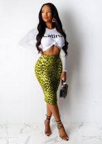 WGW Leopard Print Long Sleeve Midi Skirt Two Piece Suits MOS946