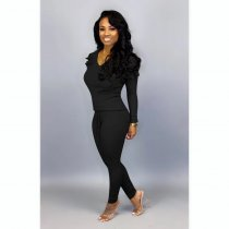 WGW Plus Size Solid Ruffles Long Sleeve Two Piece Pants Suit HGL1236