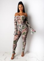 WGW Dollars Print Off Shoulder Full Sleeve One Piece Jumpsuits SHD9178