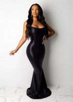 WGW Sexy Spaghetti Strap Mermaid Long Maxi Evening Dresses OSM5308