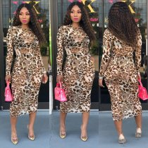 WGW Leopard Print Full Sleeve Mesh Long Dresses MA254