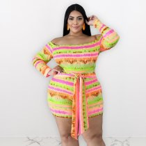 WGW Plus Size 4XL Colorful Striped Slash Neck Rompers ME5067