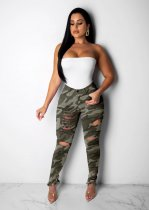 WGW Camouflage Print Denim Pencil Pants Long Jeans MOY5121