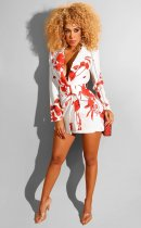WGW Sexy Print Notched Neck Sashes Mini Dresses BS1127