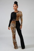 WGW Leopard Print Patchwork Long Sleeve 2 Piece Suits MDO9076