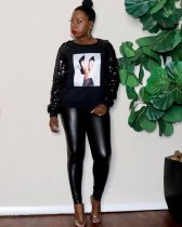 WGW Plus Size Casual Sequin Long Sleeve Printed Sweatshirt MOF5117