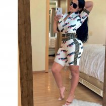 WGW Letter Print Short Sleeve Zipper Two Piece Shorts Sets DAI8807