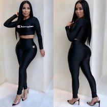 WGW Casual Long Sleeve Crop Top And Pants 2 Piece Sets MOS879