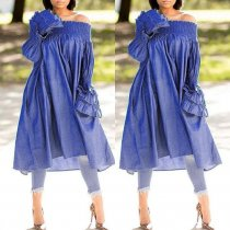 WGW Plus Size Denim Slash Neck Long Sleeve Loose Midi Dress NY8846