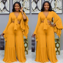 WGW Plus Size Tie Up Crop Top And Wide Leg Pants Sets OJS9151