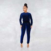 WGW Shinny Sequin Long Sleeve Top And Pants 2 Piece Outfit MA266