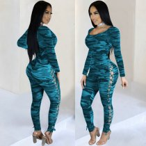 WGW Sexy Camo Print Hollow Out Long Sleeve Skinny Jumpsuits AL135