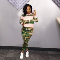 WGW Camouflage Print Patchwork Hooded 2 Piece Sets KSN5066