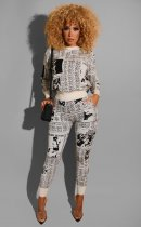 WGW Casual Letter Print Sweatshirt Long Pants Two Piece Outfits CM614
