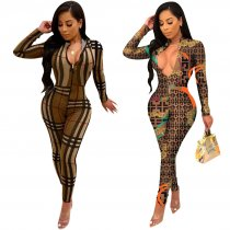 WGW Sexy Printed Long Sleeve Front Zipper Jumpsuits TE3566