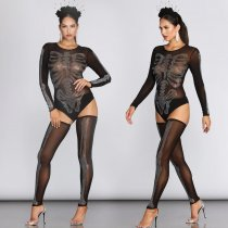 WGW Sexy Mesh See Through Rhinestone Bodysuit With Stockings BY3311