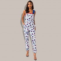 WGW Casual Printed Straps One Piece Jumpsuits QY5136