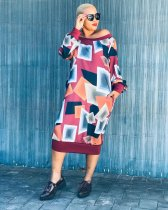 WGW Geometric Print Slash Neck Long Sleeve Midi Dresses HMS5262