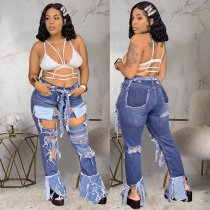 WGW Plus Size Ripped Holes Denim Long Jeans Pants NY001-2