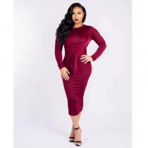 WGW Solid Color Long Sleeve Sashes Midi Dresses MYP8893