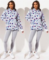 WGW Casual Printed Hooded Long Sleeve Hoodies Sweatshirt QY5137