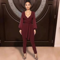 WGW Sexy Deep V Neck Long Sleeves One Piece Jumpsuits TK6039
