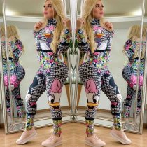 WGW Letter Cartoon Printed Front Zipper Skinny Jumpsuits HM6162