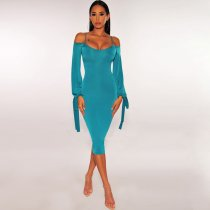 WGW Sexy Off Shoulder Spaghetti Strap Long Sleeve Midi Dress BY3314
