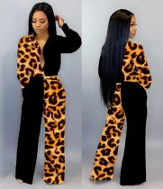 WGW Sexy Leopard Printed Patchwork One Piece Jumpsuits LM8092