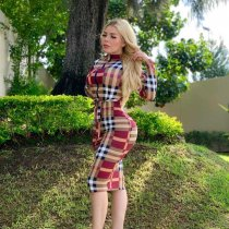 WGW Plaid Printed Long Sleeve Zipper Midi Dresses LQ5102