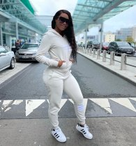 WGW Casual Zipper Hoodies Sweatpants Two Piece Set MX108029