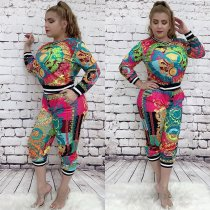 WGW Plus Size Casual Printed Long Sleeve 2 Piece Pants Set YNB7029